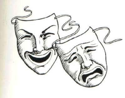 As máscaras teatrais, que representam o drama e a comédia, foram escolhidas como emblema da divisão de piadas sem graça.