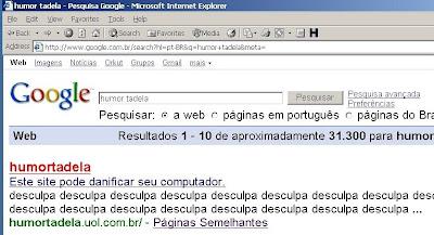 Screenshot de pesquisa no google com as palavras Humor Tadela, cujo resultado alerta para riscos ao usuário.