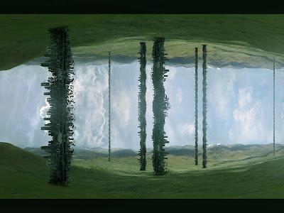wallpaper fundo de tela com paisagem transformada em figura abstrata