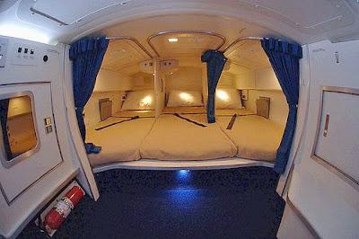Área de repouso dos pilotos no Boing 777