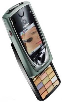 Foto Montagem engraçada com um celular Nokia que também é uma caixa de maquiagem.
