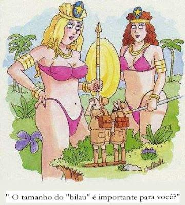 Charge satirizando a preocupação masculina com o tamanho do pênis.