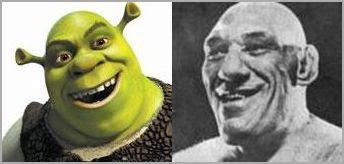 Imagem compara a face de Maurice Tillet com a de Shrek.