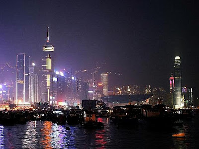 Paisagem de Hong Kong com seus edifícios