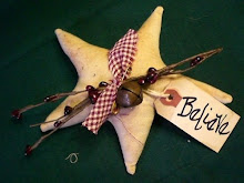 """Believe"" Star ornies, burgundy"