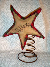 Primitive Homespun Tree Topper, Make-do
