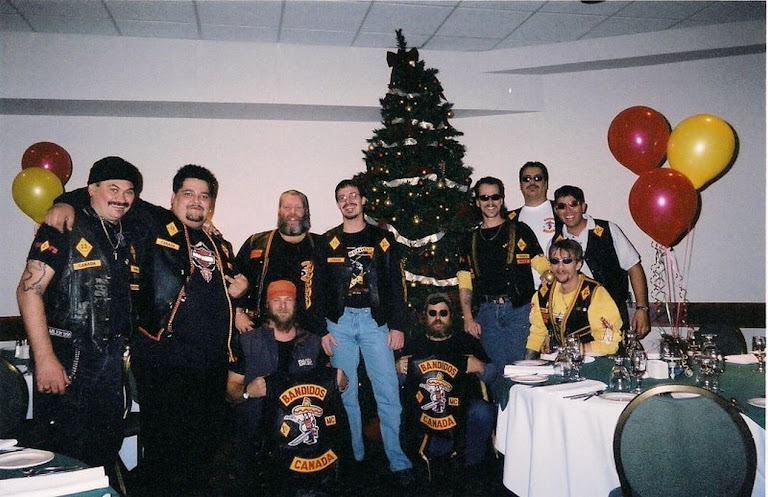 Bandidos December 2000 left to right Boxer Muscedere Frank Salerno and other Canadian Bandidos