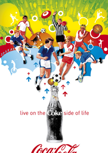 soccer2 Design; Coke a Cola the can, bottle, slogan