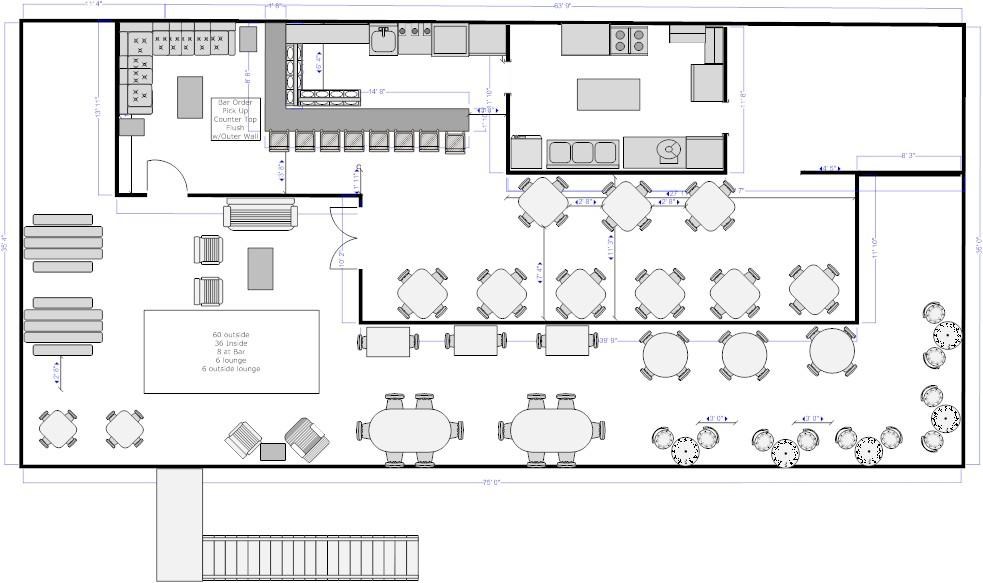 Monkey Face LLC Roof Top Restaurant Floor Plan RENTED