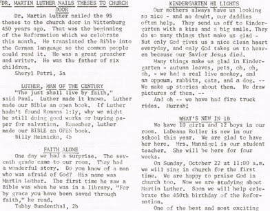 Page 3 (top part) of the October 1967 issue of Hi Lights, the student newspaper of St John Elementary School in Seward, Nebraska.