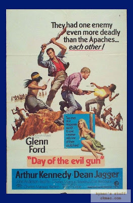 Poster from the movie Day of the Evil Gun. Image taken from http://filmindustrybloggers.com/thegenredirector/2008/09/17/guns-testicles-coke-more-adventures-in-co-production-hell/