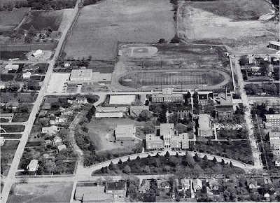 Aerial photograph (older, black and white) of Concordia Teachers College in Seward, Nebraska. The image was scanned from an old photograph found by Steve Sylwester.