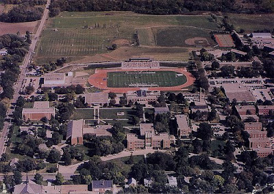 Aerial photograph (newer, color) of Concordia Teachers College in Seward, Nebraska. The image was scanned from an old photograph found by Steve Sylwester.