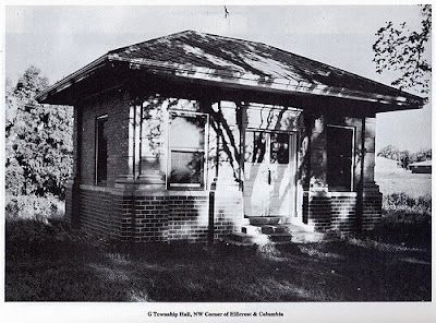 G Township Hall, near the corner of North Columbia Avenue and Hillcrest Drive in Seward, Nebraska. The image was scanned from a page in the Official Seward County Bi-Centennial Booklet.