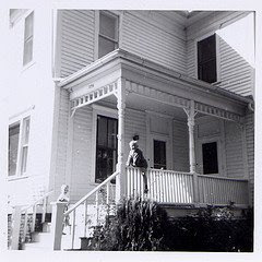 House at 276 Faculty Lane in Seward Nebraska, in 1964. The photo shows Steve Sylwester and Larry Sylwester as children. The image was scanned from a photograph that belongs to Steve Sylwester.