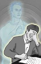 Alegoria que representa Chico Xavier psicografando uma mensagem de Emmanuel.