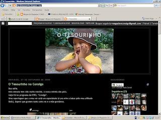 Imagem da página internet do Tesourinho