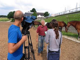 Fotografia da equipa do Consigo a entrevistar responsável pelos cavalos