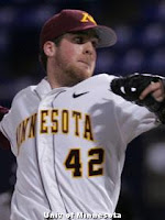 Minnesota Golden Gopher Baseball Player Scott Matyas pitching
