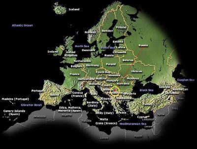 carte Europe nuit