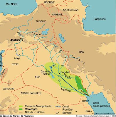 carte hydrologique du Moyen Orient