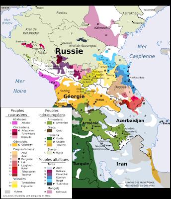 carte Caucase ethnique