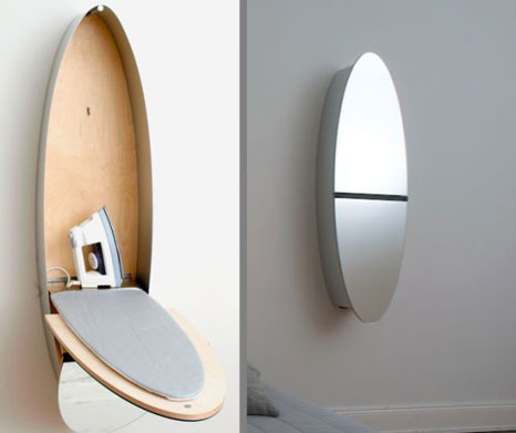 Mirror Ironing board closet: the mirror room and ironing board