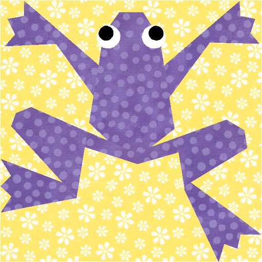 Kiriki the Frog - paper piecing quilt block pattern by Piece By Number