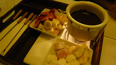 Bourbon and Bitter chocolate fondue with turkish delight, marshmallow ...