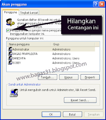 Cara Menghilangkan Menu Log On to Windows 3