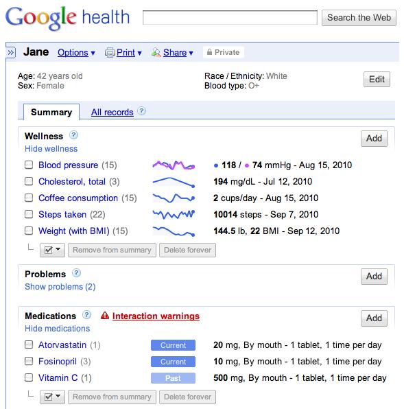 Google Health Screen Shot 1