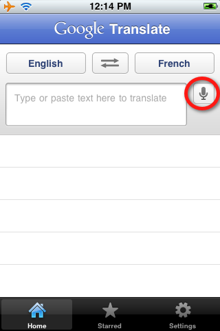 google translate app. the Google Translate app