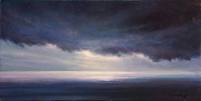 oil study by artist Colin Barclay of sea near Twillingate Newfoundland