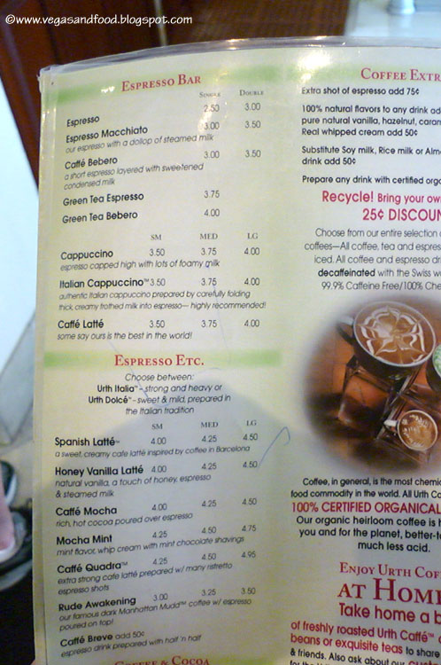 Urth Cafe Prices