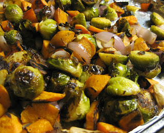 ... and Garlic Roasted Brussels Sprouts, Sweet Potatoes, and Onions