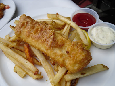 Half portion of fish & chips at Charlie Don't Surf in White Rock, BC.