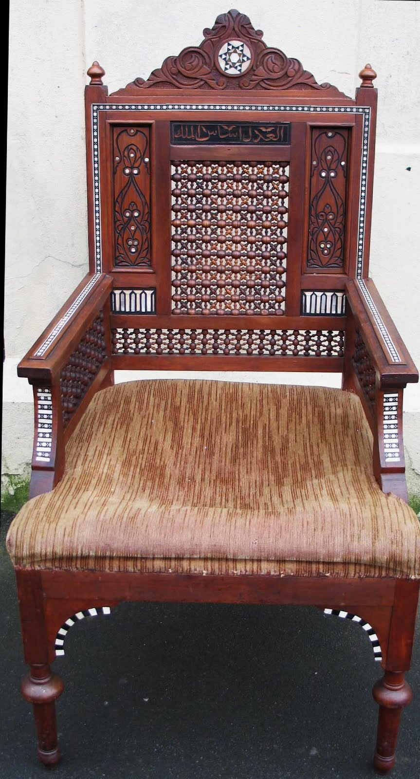 Portobello antiques morrocan mosharabia armchair for Chinese furniture christchurch