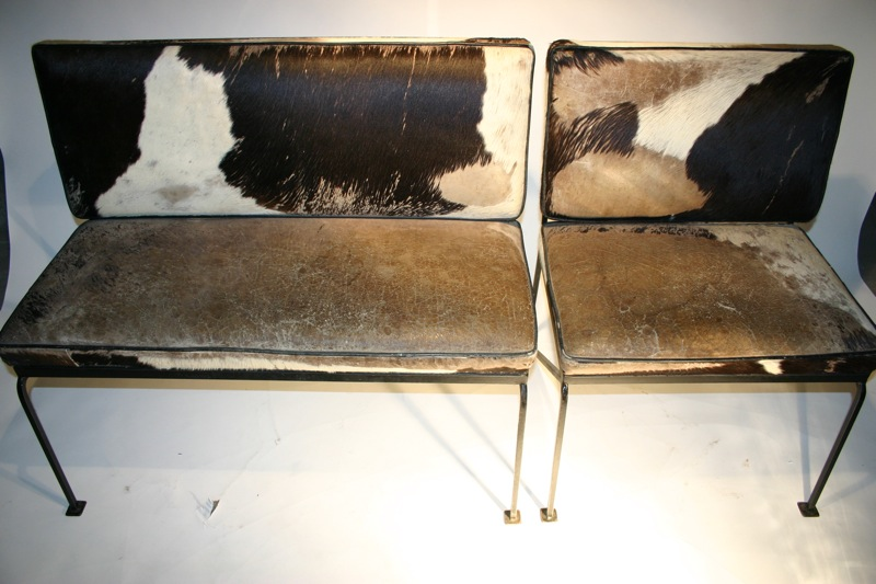 Cowhide Upholstered Bench U0026 Chair
