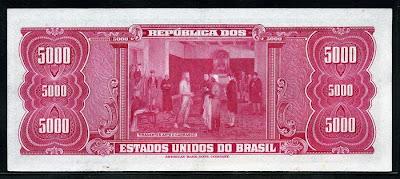 Tiradentes cédula 5000 Brazian Cruzeiros banknote Notafilia