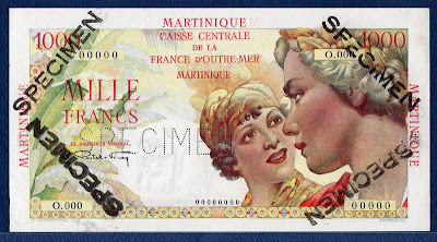 Martinique Specimen banknote currency banknotes values 1000 Francs