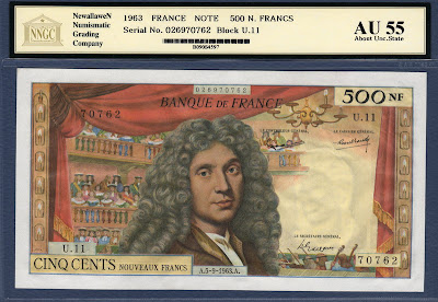 France currency money banknotes Moliere 500 French Nouveaux Francs