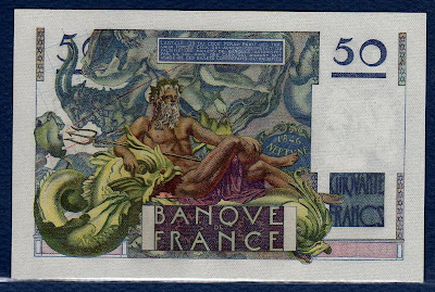 banknote currency France 50 Francs