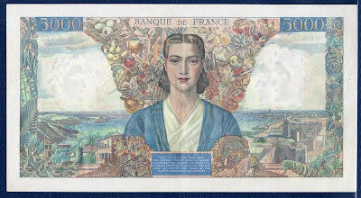 banknote 5000 French Francs Allegory of France