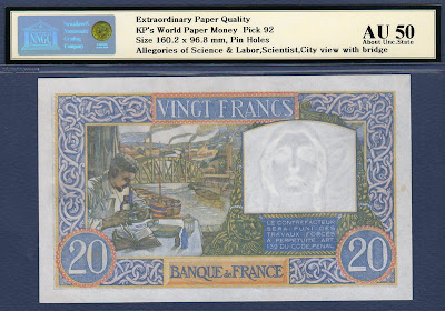 France banknote 20 French Francs