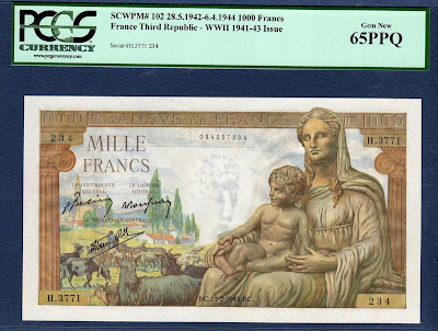 France currency banknotes values 1000 French Francs