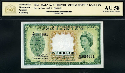 Malaya and British Borneo  5 dollars note paper money Queen Elizabeth II on banknotes