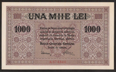 Romania 1000 Lei banknote First World War