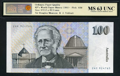Paper money currency Australia 100 Dollars banknote