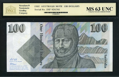 Paper money currency 100 Australian Dollars banknote