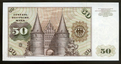 Germany Paper Money 50 Deutsche Mark Lübeck Holstentor